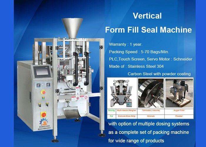 Auger Vertical Form Fill Seal Machine With Volumetric Cup Pneumatic Operate